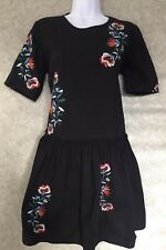 Zara, Black+ Floral Embroidered, Short Sleeved Flared Dress/Tunic, Size Small.