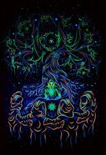 Trippy Tapestry Psychedelic Spiritual Psyart Nature Fluorescent Fractal Print