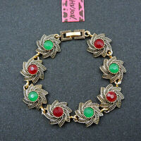 BETSEY JOHNSON'S ANTIQUE DESIGN EMERALD & RUBY RED ONYX STYLE GP BRACELET