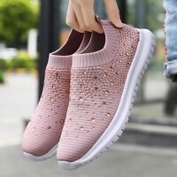 Women's Crystal Walking Shoes Casual Breathable Lightweight Running Sneakers Gym