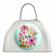 Hello with Pretty Flowers White Metal Cowbell Cow Bell Instrument