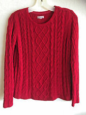 Red Cable Knit Sweater Croft & Barrow  Pull-over Crew Neck Long Sleeves  8