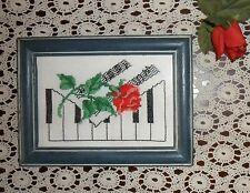 Vintage Framed Glass Encased Cross Stitch Shabby Red Rose & Piano Keys Picture