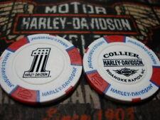 White Red & Blue  #1 Poker Chip Collier Harley Davidson Roanoke Rapids, NC