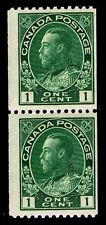 CANADA #131 .01c DEFINITIVE COIL PAIR OF 1915 - MIXED - FINE -  $22.50 (E#9656)