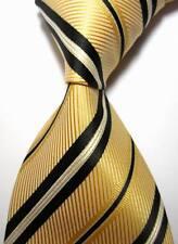 New Classic Stripes Beige Black White JACQUARD WOVEN 100% Silk Men's Tie Necktie