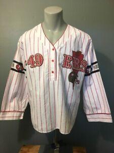 Vtg 90s Ladies SF 49ers Flannel Baseball Football Jersey Nite Shirt Top Womens L