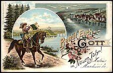 Behüt' Euch Gott im Neuen Jahr - TROMPETER VON SÄCKINGEN - Top Farblitho-AK 1899