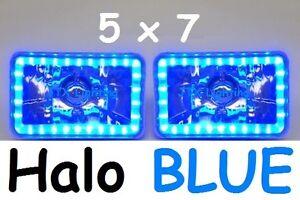 1pr JTX 5x7 6x8 Angel Eye LED Headlights Lights BLUE Halo