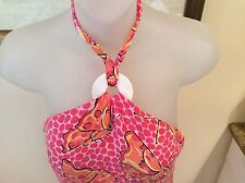 NWOT LILLY PULITZER SILk PINK ORANGE BUTTERFLY RING HALTER DRESS SZ 2 ADORABLE