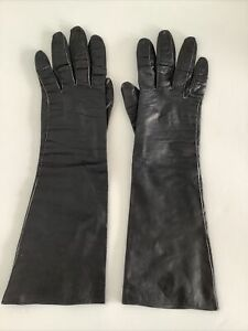 LADIES VINTAGE GLOVES SOFT LEATHER LONG SILK LINED SIZE 7 MADE IN FRANCE
