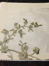 SILK SHEER EMBROIDERY FLOWERS MISTY TAUPE 3 YARDS WIDTH 54""