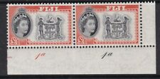 FIJI 1959 QEII £1 ARMS PLATE NUMBER PAIR NEVER HINGED MINT