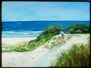 "M.JANE DOYLE SIGNED ORIGINAL ART OIL/CANVAS PAINTING ""SAND DUNES"" (SEASCAPE) FR."