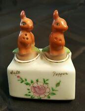 Vintage Deer Nodder Salt and Pepper Shakers in Holder with Flower Design