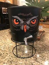 NWT Owl Steel Beverage Dispenser Stand Ice Drink Bucket Halloween 250 oz.