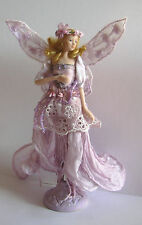 A LILAC FAIRY TASSEL DOLL Porcelain Head Torso & Arms Bead Decoration on Stand B