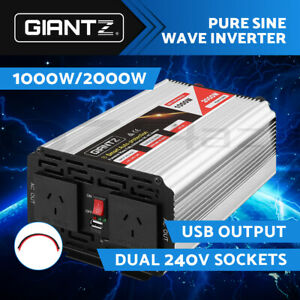 Giantz Power Inverter 12V to 240V 1000W/2000W Pure Sine Wave Camping Car Boat