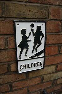 Vintage Plaque Cast Iron Road Sign Warning Children Illustration 1950 Style