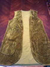 Vintage 1960s Green Velvet Long Vest See Measurements Handmade