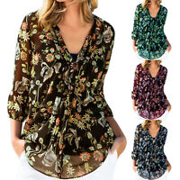 Womens Ladies Floral Long Sleeve Shirt Casual Blouse Summer Casual Tee Holiday