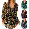 Women's Floral V-Neck Long Sleeve Chiffon Tops Blouse T-Shirt Summer Casual Tee