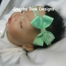 Mint Green Monogram Dainty Hair Bow with Headband Personalized Preemie 2 Toddler