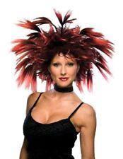 Black & Red Frenzy Wig Harpy Siren Anime Manga EMO Spikey Punk Vixen Hades Queen