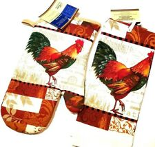 Kitchen Towel & Oven Mitt - Rooster Chicken NEW by Home Collections