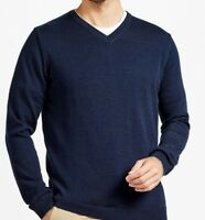 Men`s New WHITE STUFF V-Neck Lambswool Jumper Size Large Navy Blue