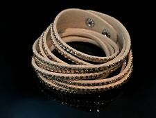 Slake Crystal Wrap Bracelet made w Swarovski Crystal & Tan Alcantara ® Leather