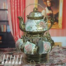 13 Piece European Titanium Rose Printing Vintage Ceramic Tea Set