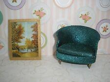 Petite Princess Vintage Dollhouse Furniture IDEAL Salon Drum Chair & Picture