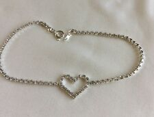 Tone 9 and 1/4 Inch Clear Rhinestone Anklet With Heart Silver