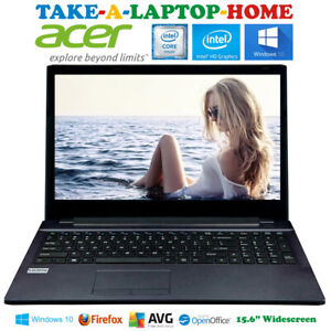 """Acer Black Windows10 Laptop 15.6"""" Widescreen DVD-RW HDMI WiFi Fast - Comes Boxed"""