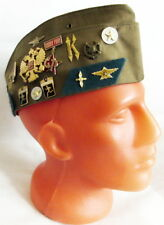 Russian Army Pilotka Garrison Cap Hat with Real USSR Badges Khaki 57 M