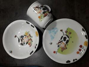 """Kindergeschirr Seltmann 3-teilig """"Kuh"""" Porzellan Kinderteller Müslischale Tasse"""