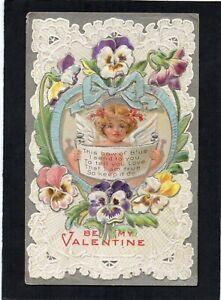 "Embossed ""Be My Valentine"" postcard. Lace Motif. Angel / Love / Poem / Lillies."