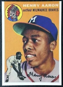 1954 Topps #128 Hank Aaron Novelty Card - Mint - Milwaukee Braves