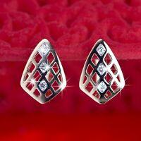 18k yellow gold gf made with Swarovski crystal huggies filigree fashion earrings
