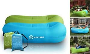 2 Pack Inflatable Loungers with Side Pockets and Matching Travel Blue/Green