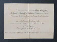 Secrétariat du roi LEOPOLD II Invitation Royale 8 février 1893 Belgique