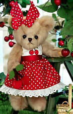"10"" ANITA CHERRY ~ BEARINGTON BEAR ~ SPRING 2016 ~ TEDDY ~ RED CHERRIES ~ 143301"