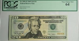 US $20 FEDERAL RESERVE NOTE (2009) PCGS Very Choice New 64 Low Serial #585