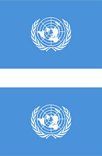 2 United Nations flag car truck vinyl stickers (4 in X 2.7 in)