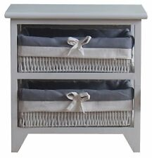 Storage Cabinet 2 tier Bathroom drawers Organiser towel Wooden -White OT30W