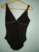 Brown swimsuit swimming costume 12 classic elegant stripe trim vgc
