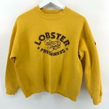 Edwin Women's Adult L 40-42 Vintage Yellow Lobster Freshness Crewneck Sweatshirt