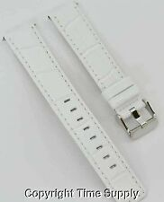 20 mm WHITE LEATHER WATCH BAND CROCO WITH SPRING BARS
