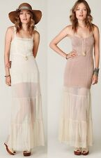 Free People White Swiss Dot Lace Point D'Esprit Boho Romantic Maxi Slip L Rare